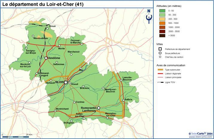 Carte du relief du Loir-et-Cher