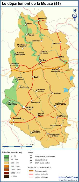 Carte du relief de la Meuse