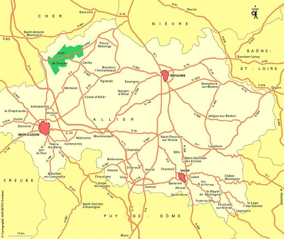 Carte des routes de l'Allier