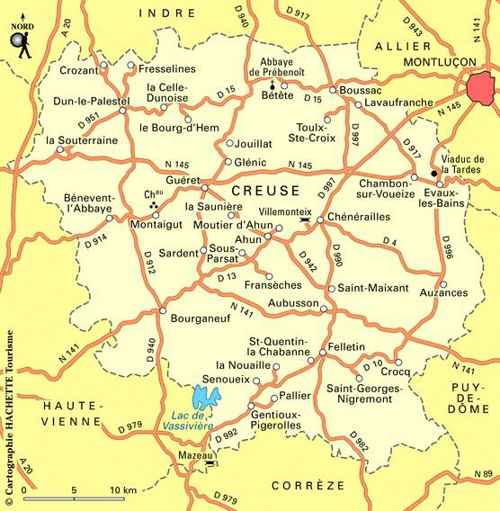 Carte des routes de la Creuse