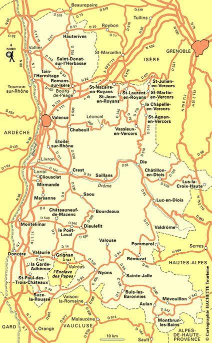 Carte des routes de la Drôme