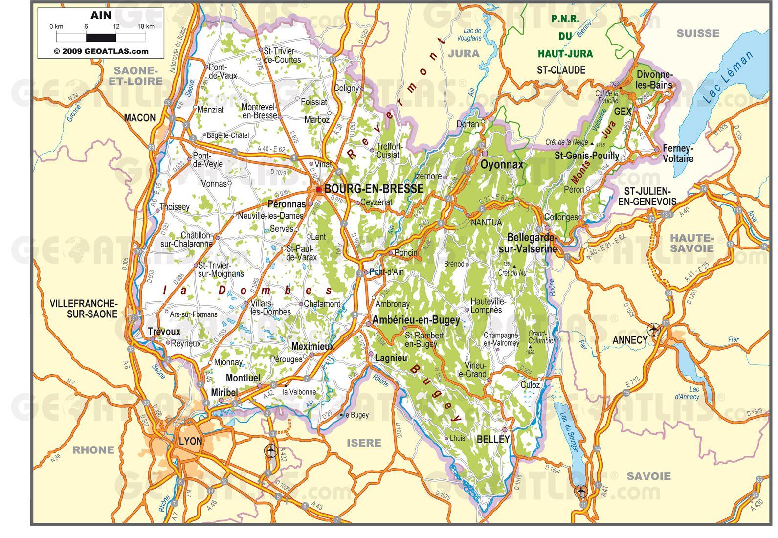 Carte routière de l'Ain