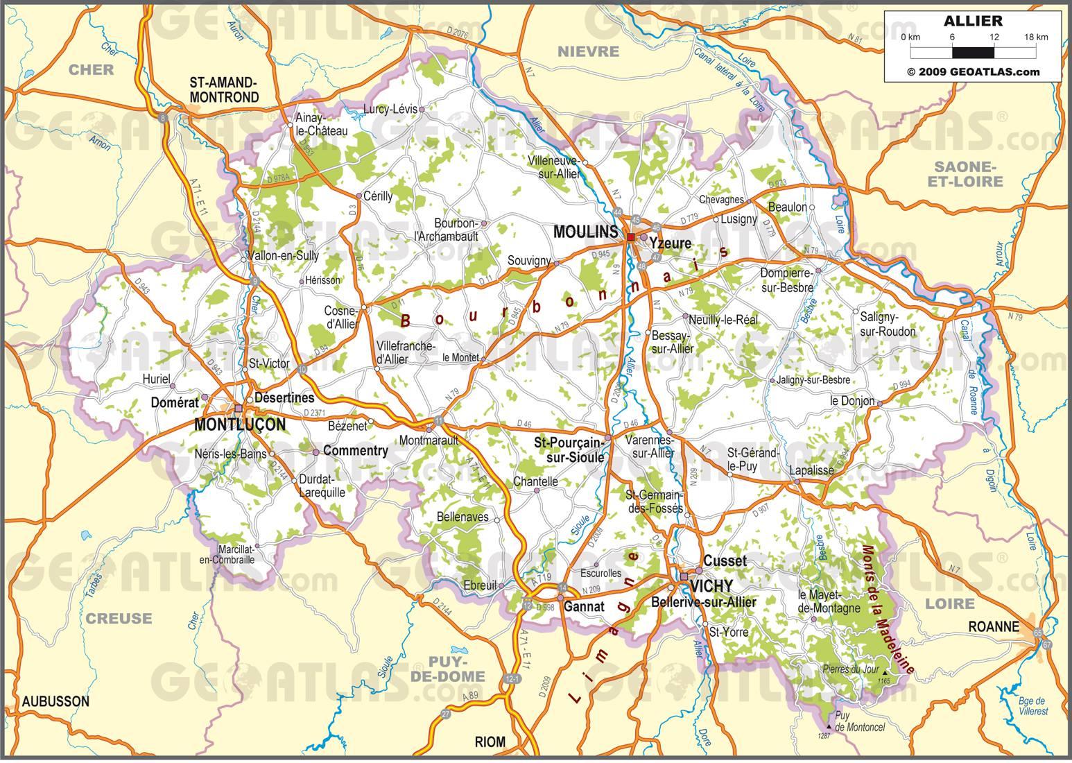 Carte routière de l'Allier