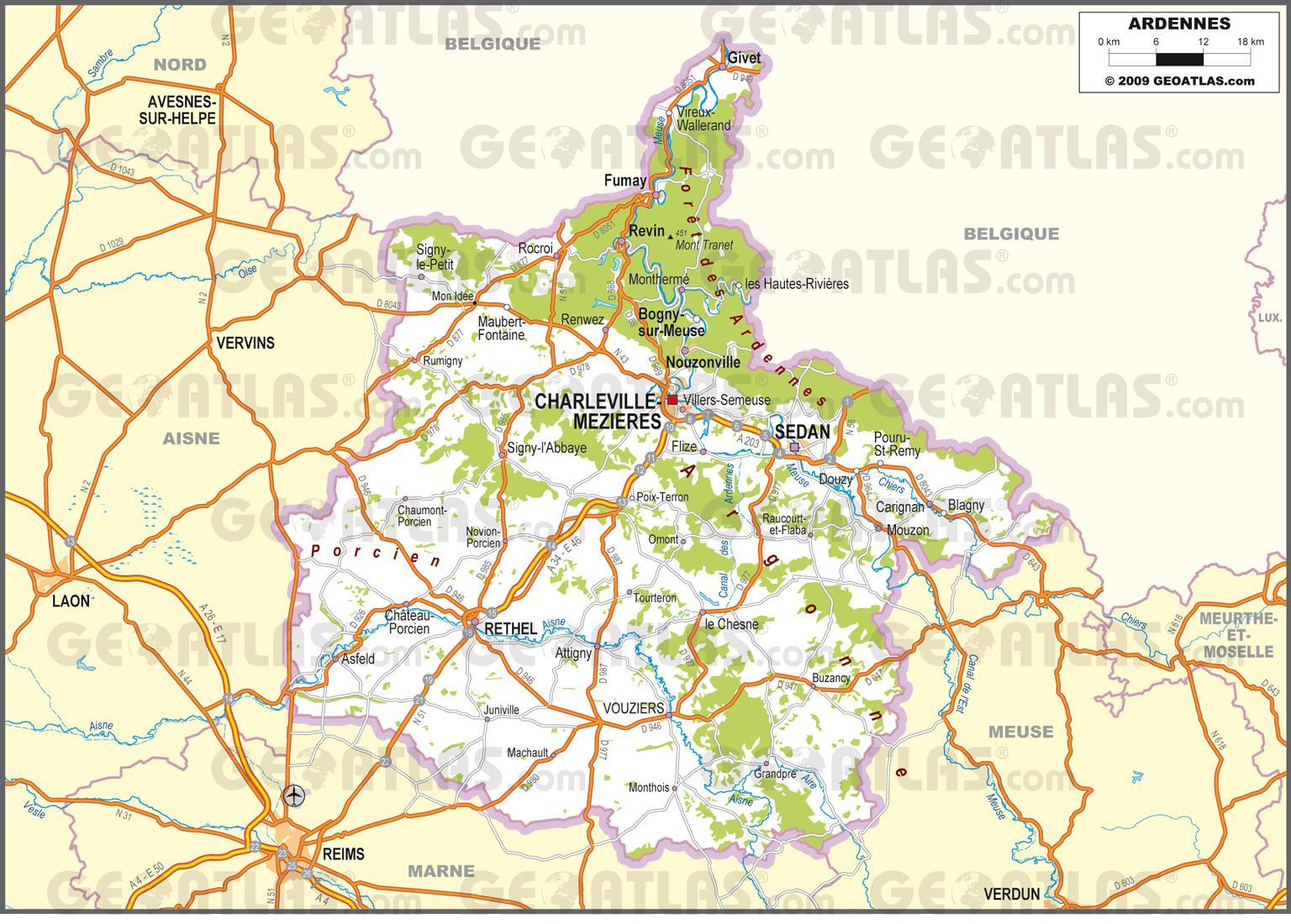 Carte routière des Ardennes
