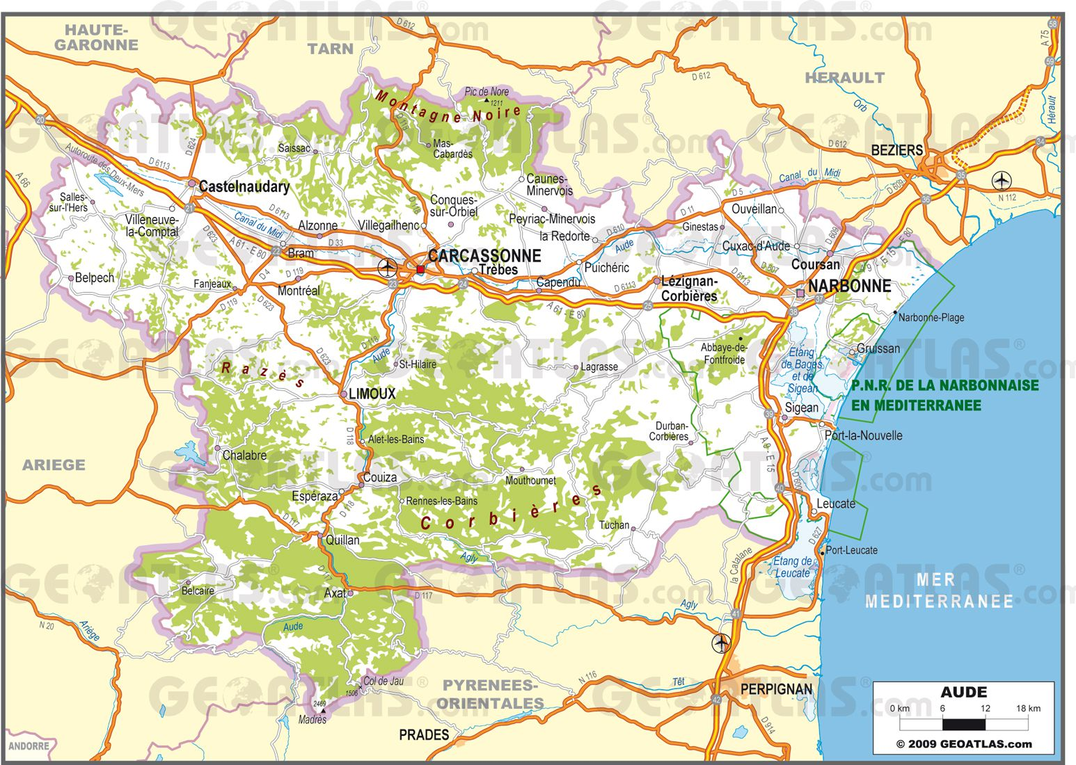 carte de l aude touristique Vents et Territoires: Aude : Montagne Noire et projet éolien sur