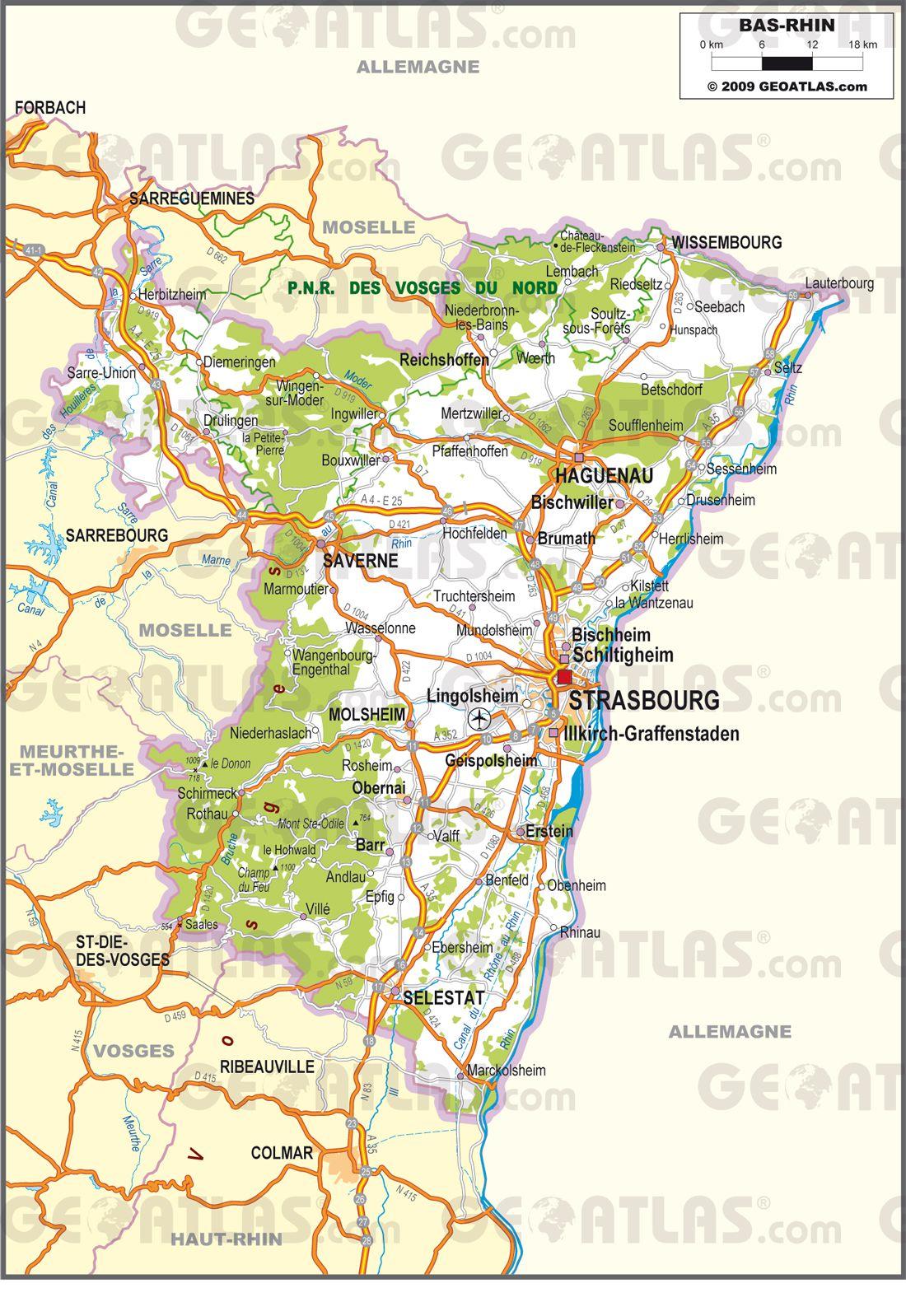 Carte routière du Bas-Rhin