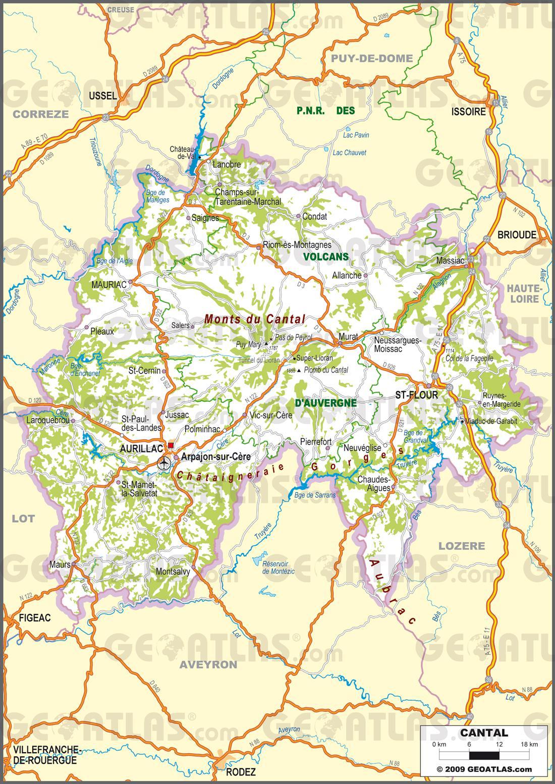 Carte routière du Cantal