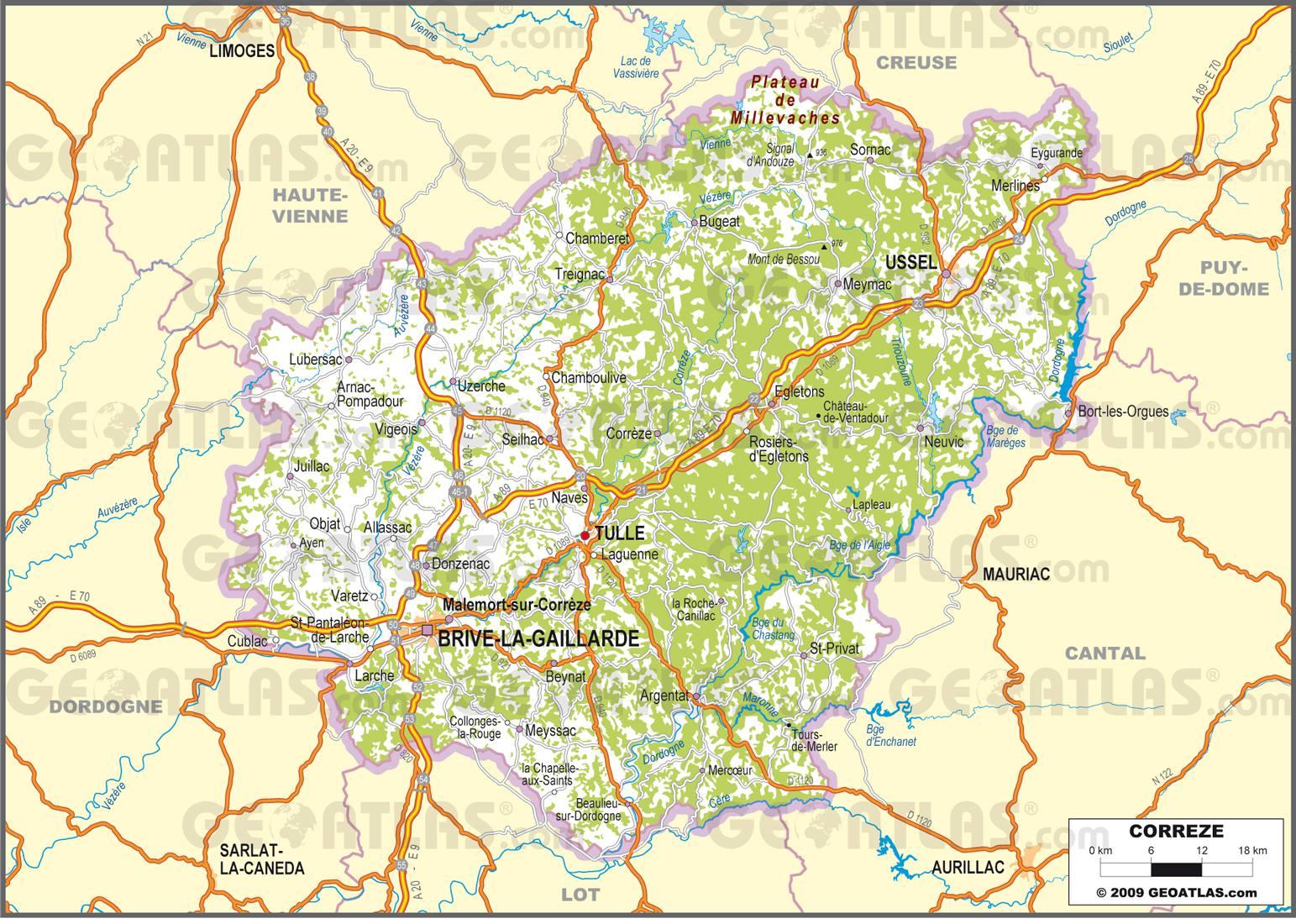 Carte routière de la Corrèze