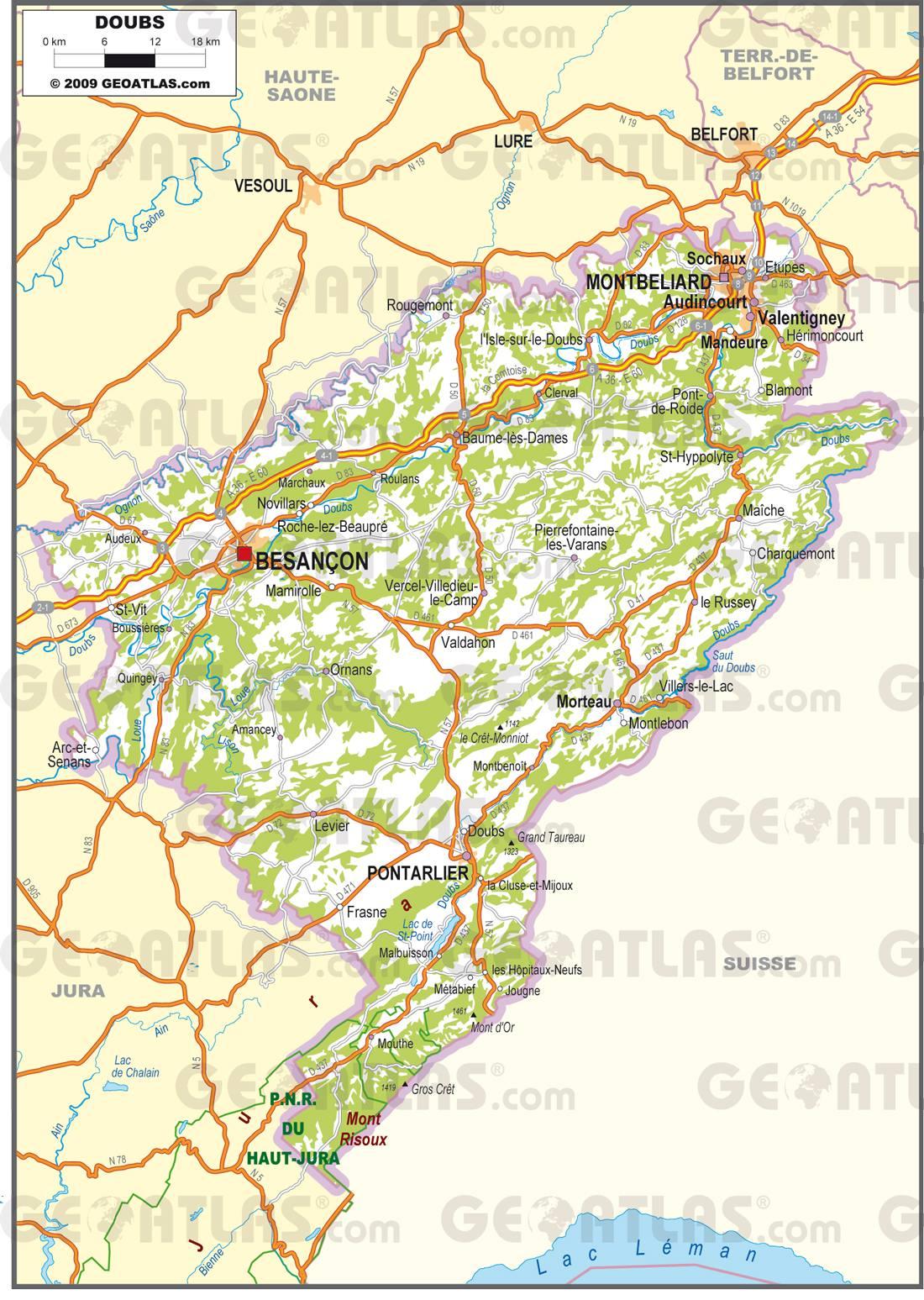 Carte routière du Doubs