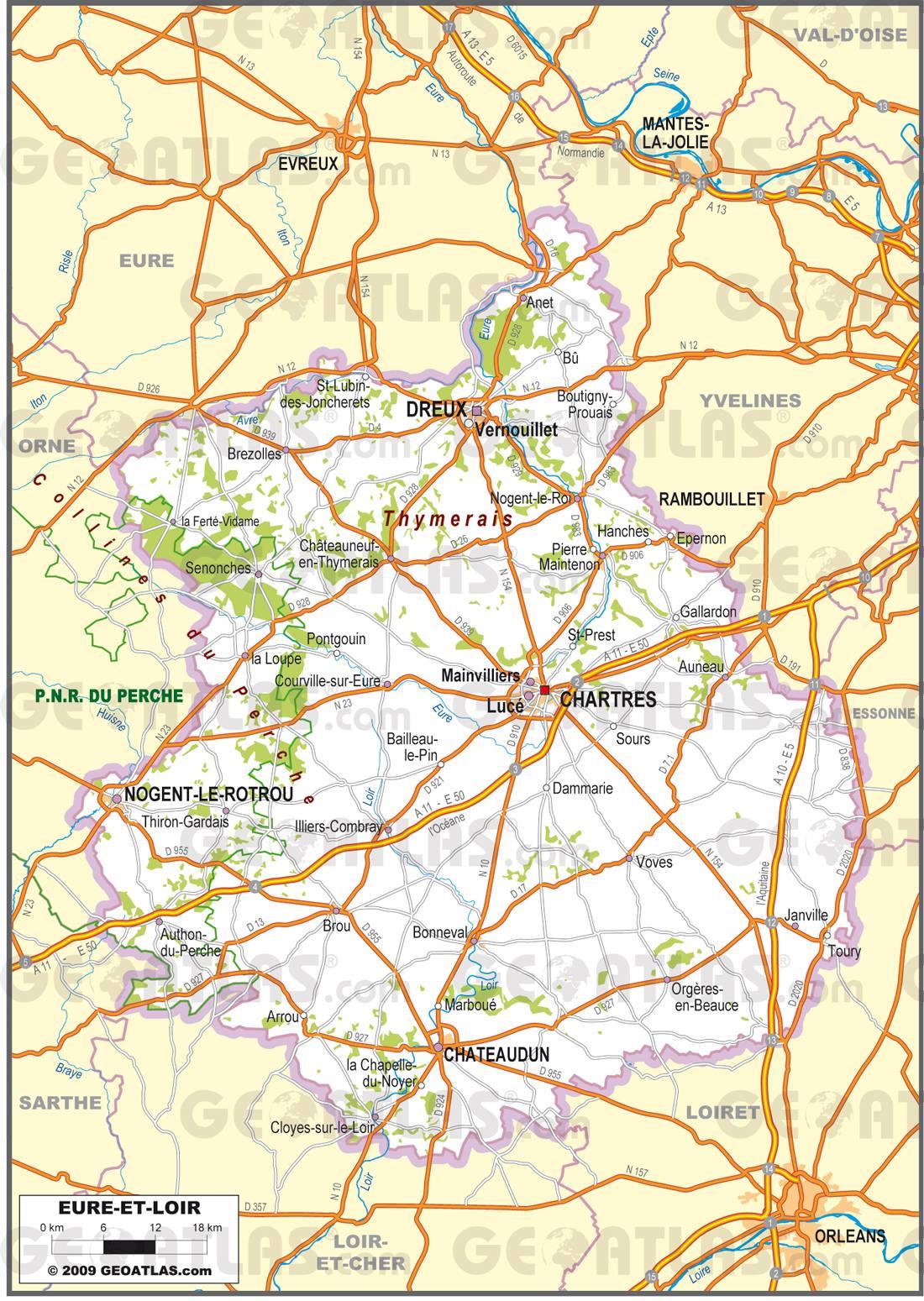 Carte routière de l'Eure-et-Loir