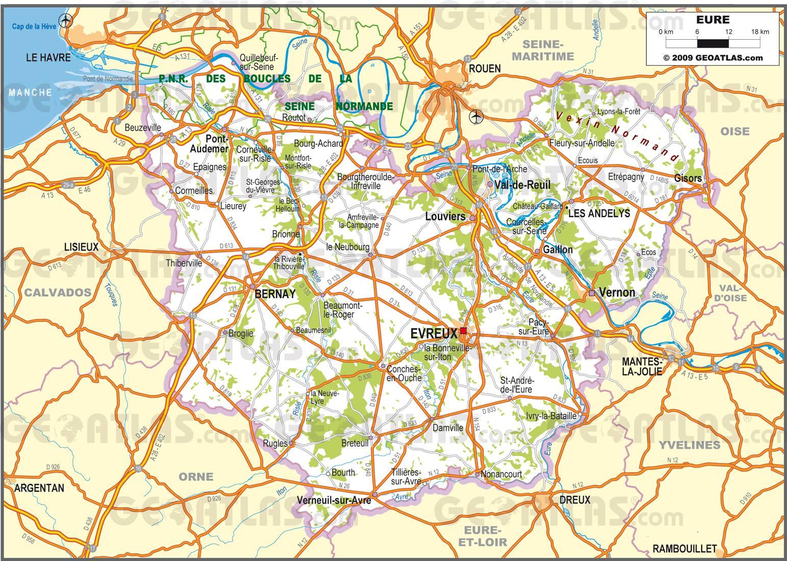 Carte routière de l'Eure