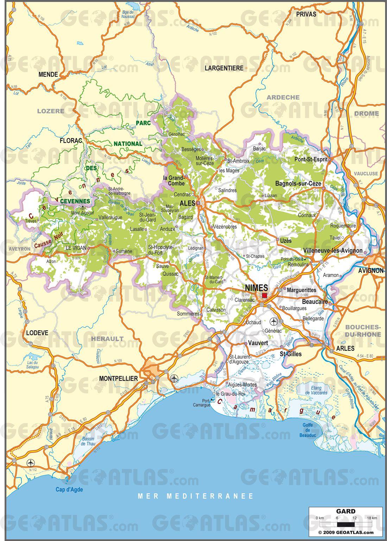 Carte routière du Gard
