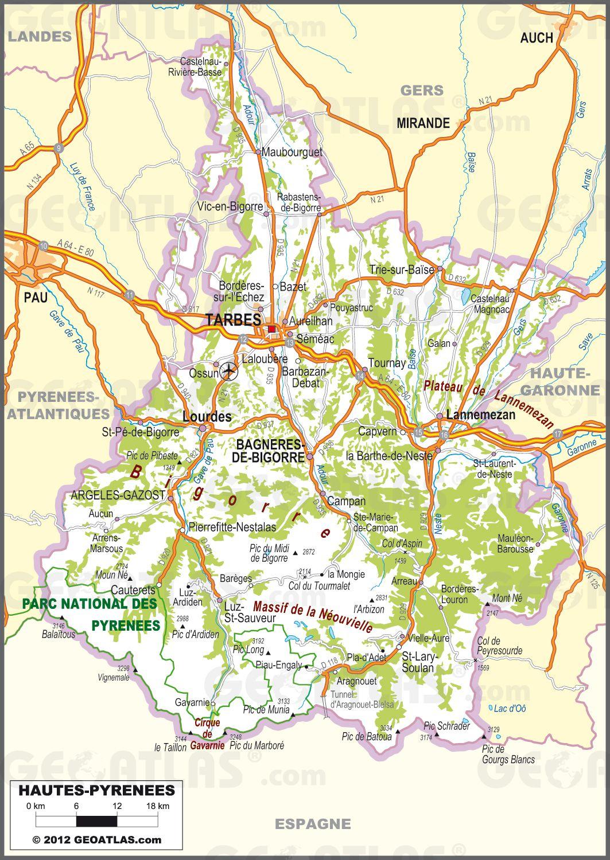 Carte routière des Hautes-Pyrénées
