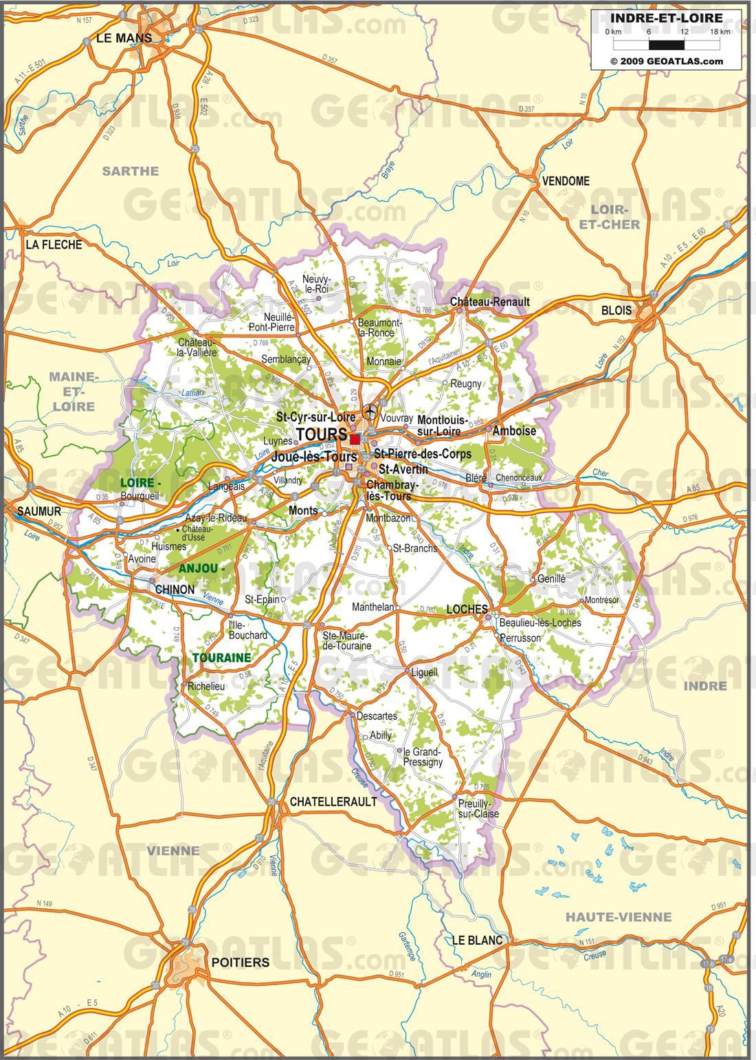 Carte de l'Indre et Loire   Indre et Loire carte du département 37