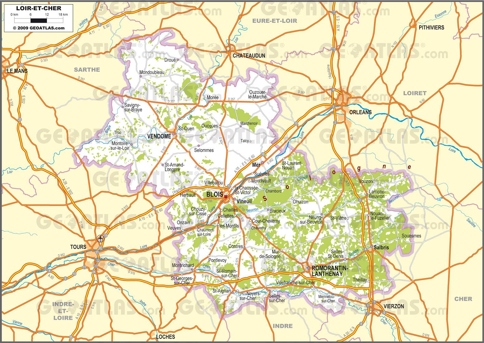 Carte routière du Loir-et-Cher