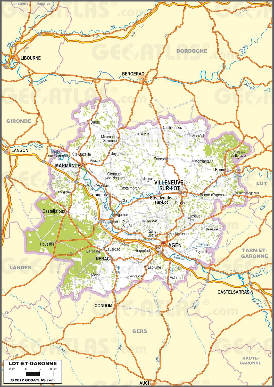 Carte routière du Lot-et-Garonne