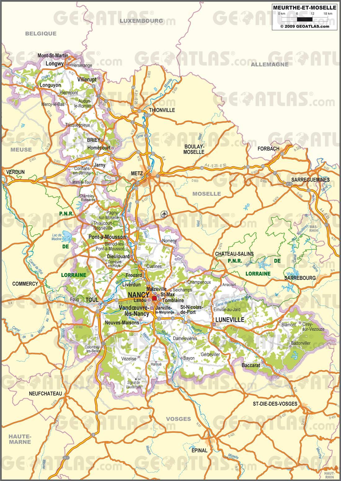 Carte routière Meurthe-et-Moselle