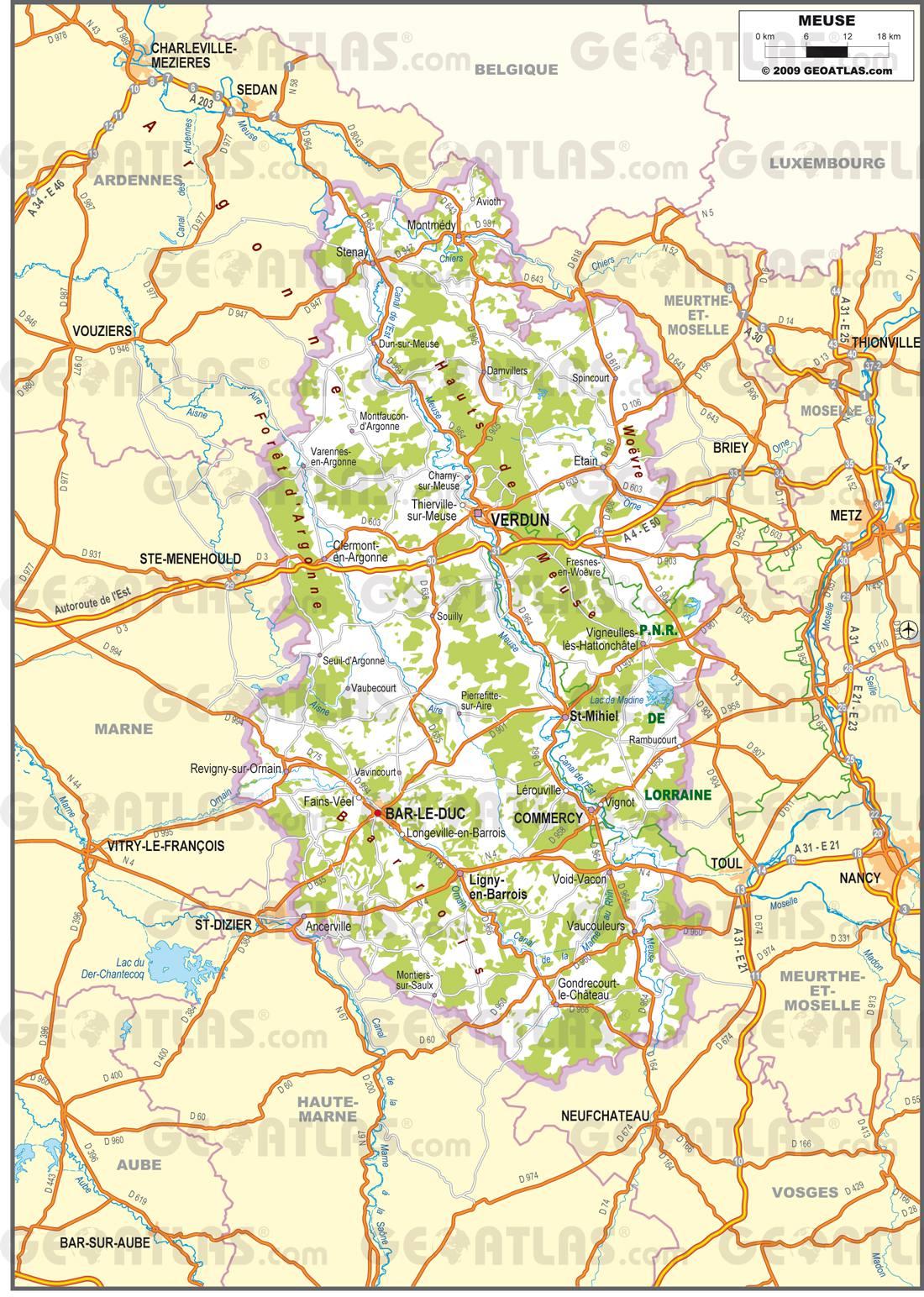 Carte routière de la Meuse