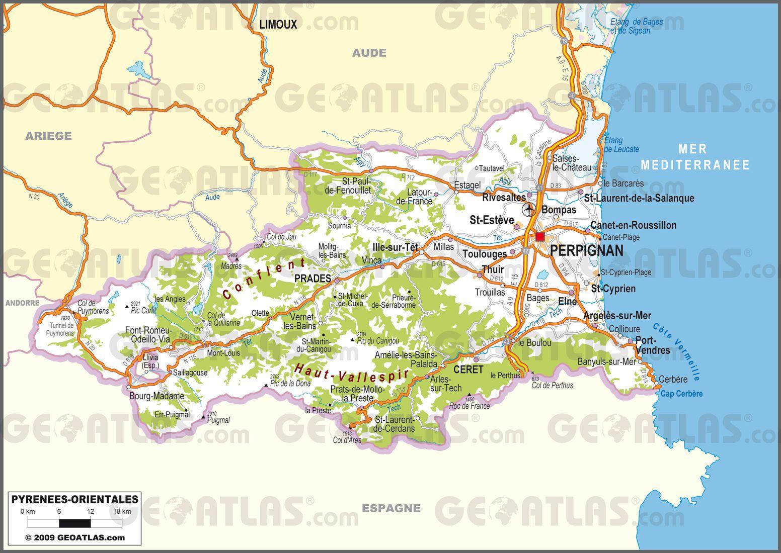 Carte des Pyrénées Orientales   Pyrénées Orientales carte du