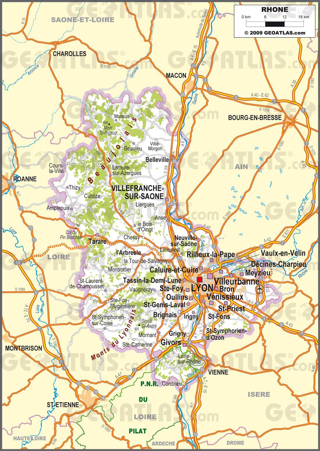 Carte routière du Rhône