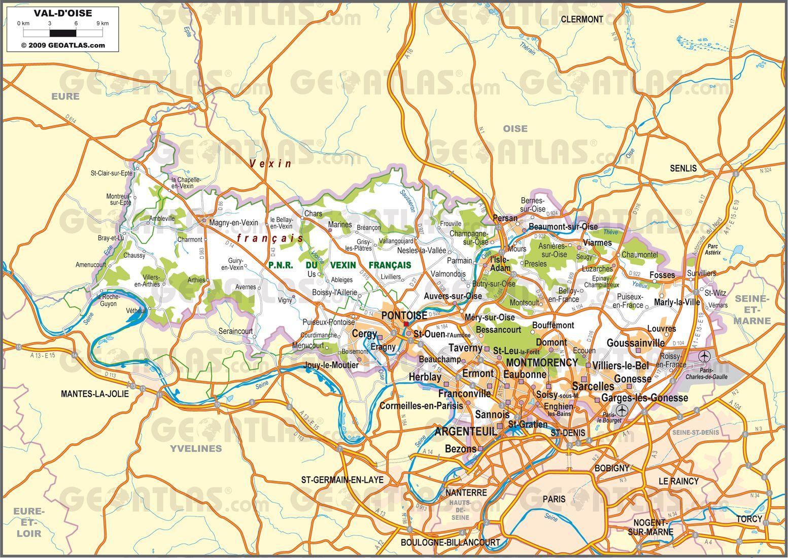 Carte routière du Val-d'Oise