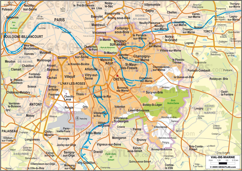 Carte routière du Val-de-Marne