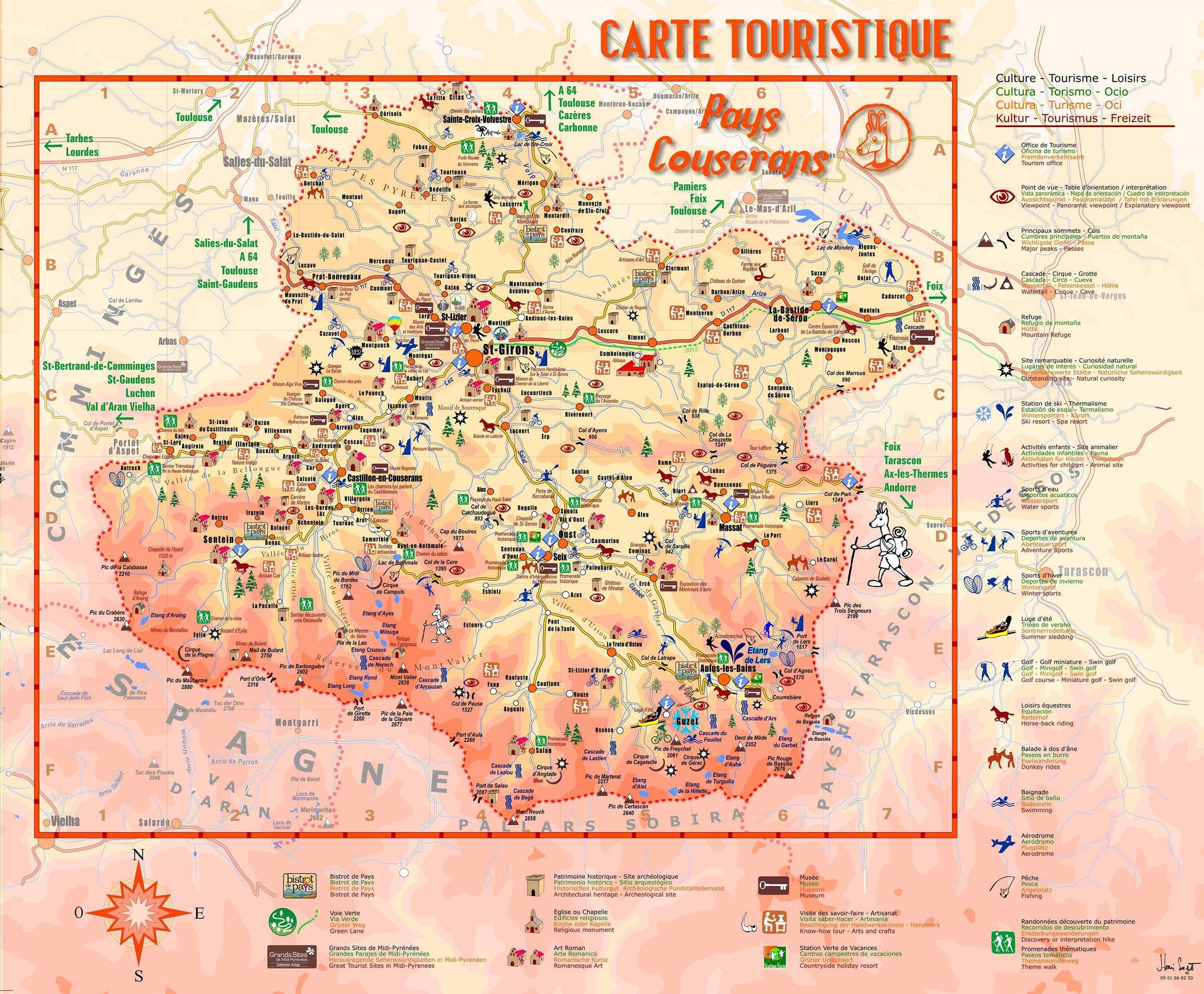 Carte de l 39 ari ge ari ge carte du d partement 09 tourisme voyages - Office du tourisme de tarascon sur ariege ...