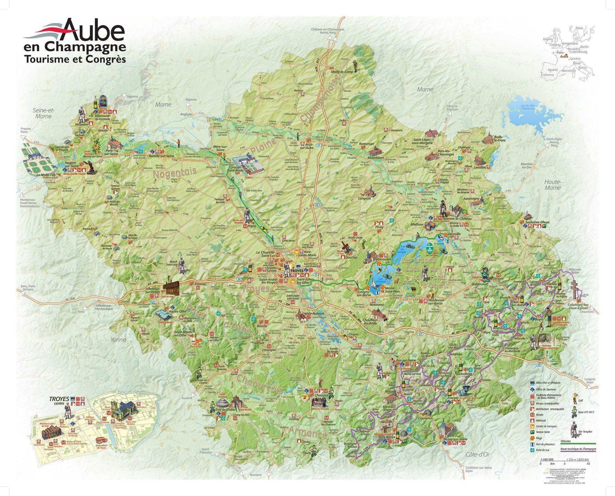 Carte des sites touristiques de l'Aube