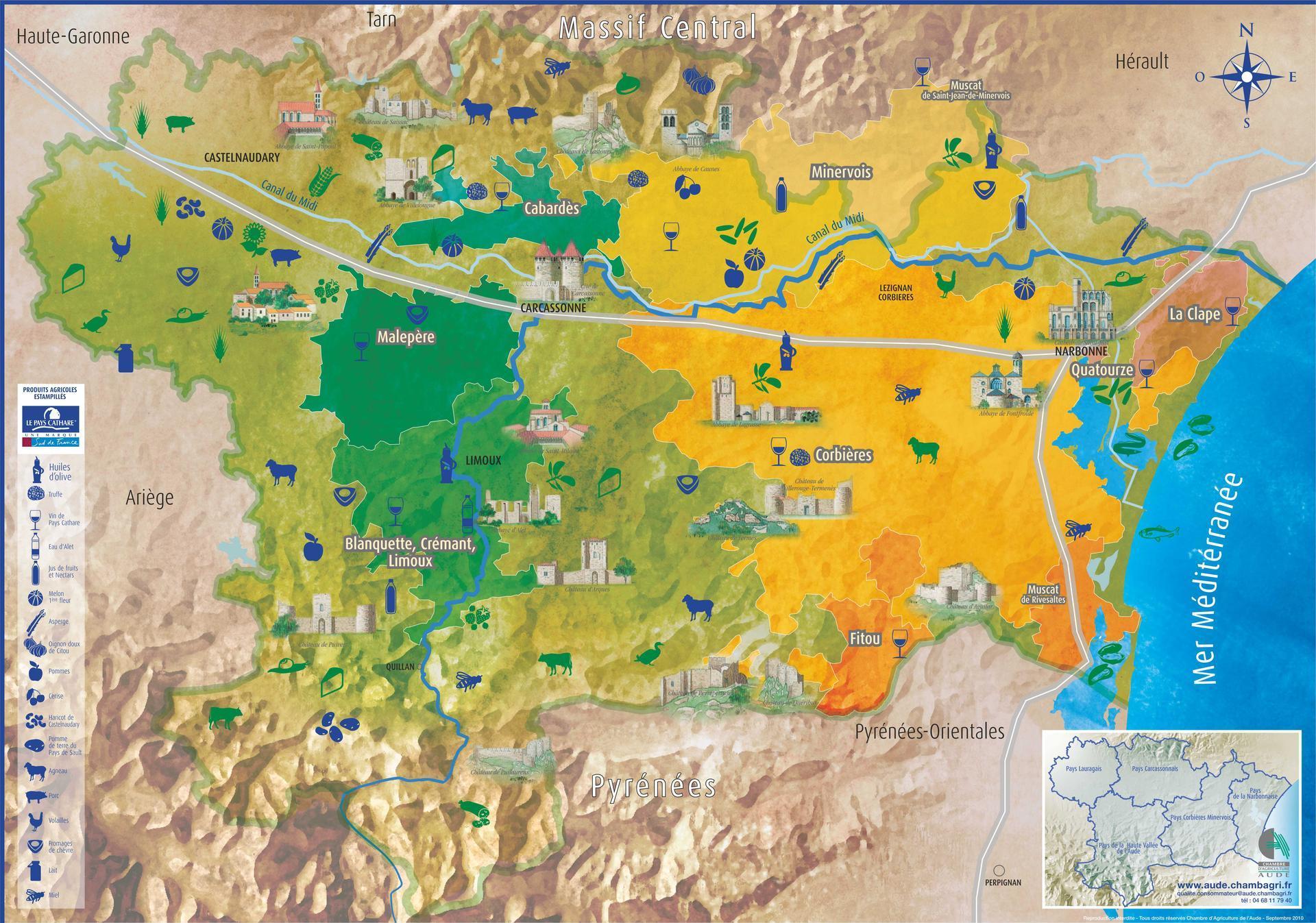 Carte de l 39 aude aude carte du d partement 11 villes sites touristiques - Office du tourisme fleury d aude ...