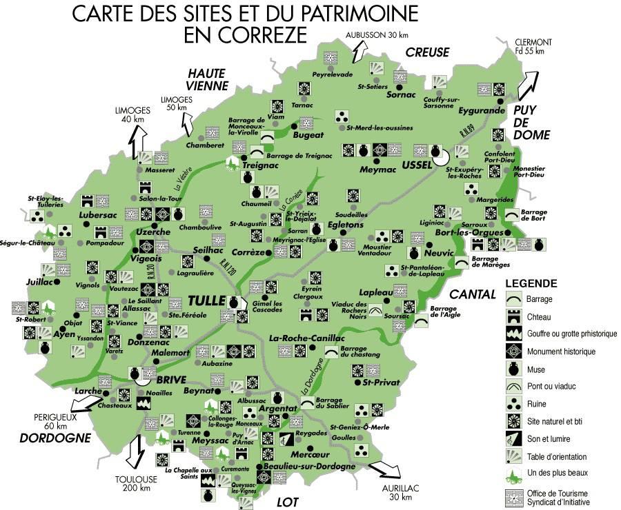 Carte des sites touristiques de la Corrèze