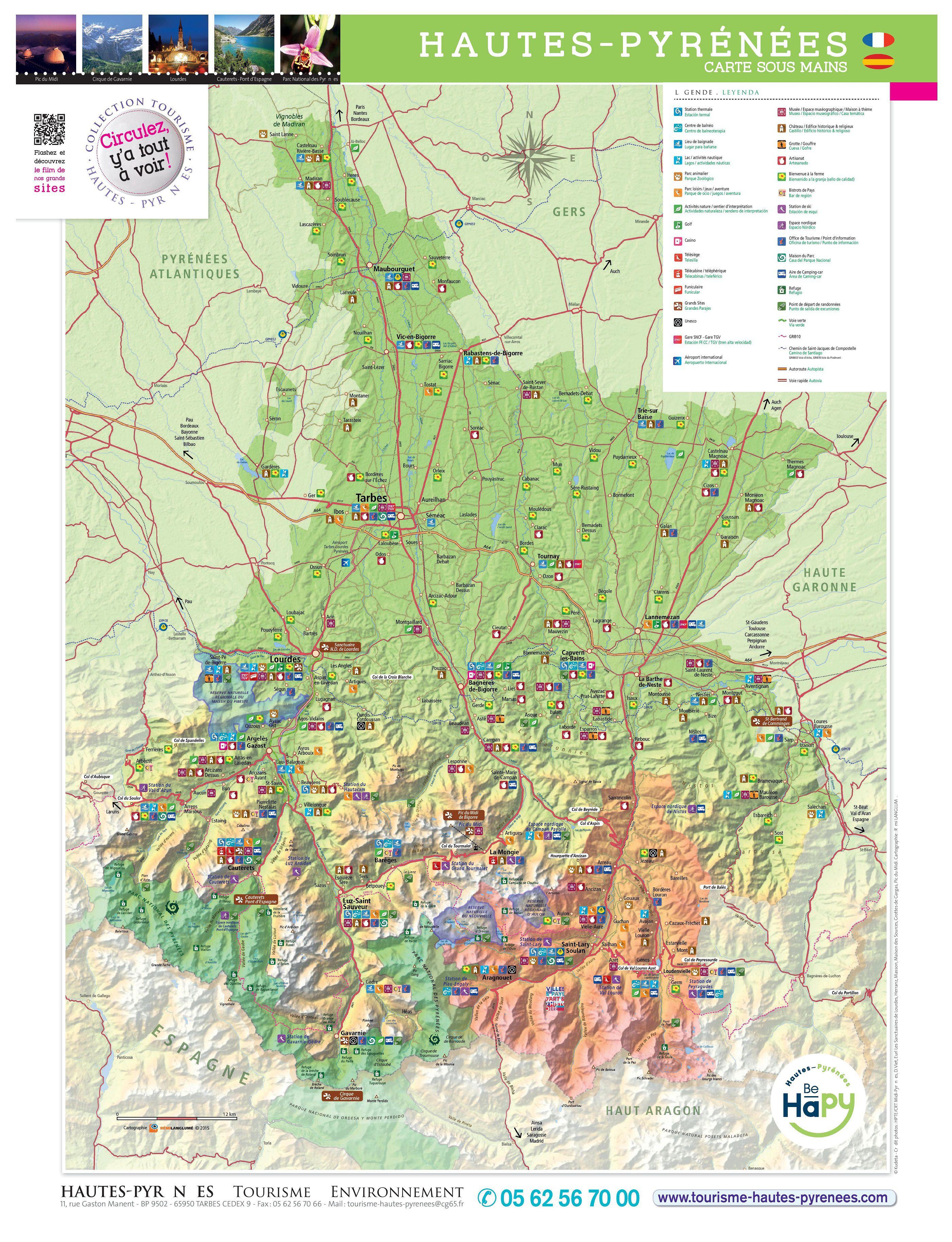 Carte des Hautes-Pyrénées - Hautes-Pyrénées carte du département 65
