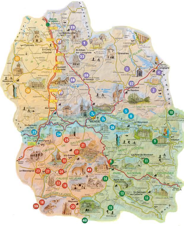 Carte des sites touristiques de la Lozère