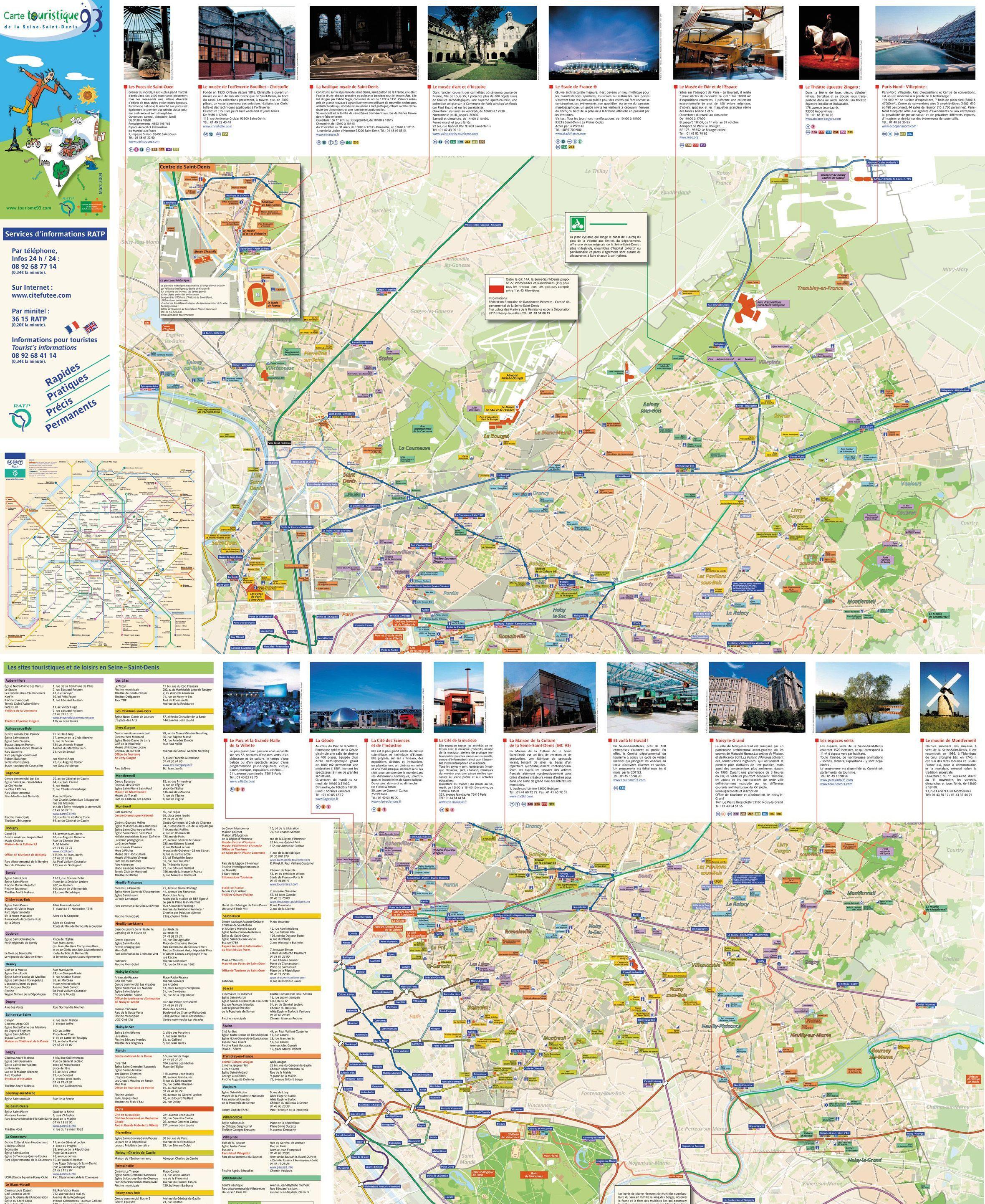Carte des sites touristiques Seine-Saint-Denis