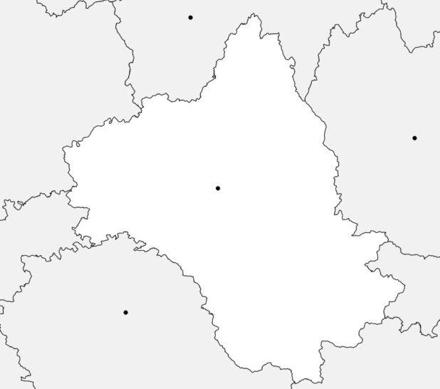 Carte vierge de l'Aveyron