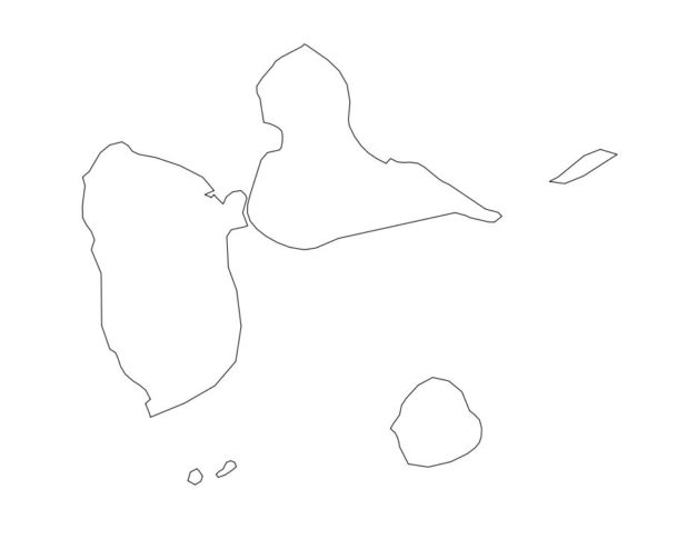 Carte vierge de la Guadeloupe