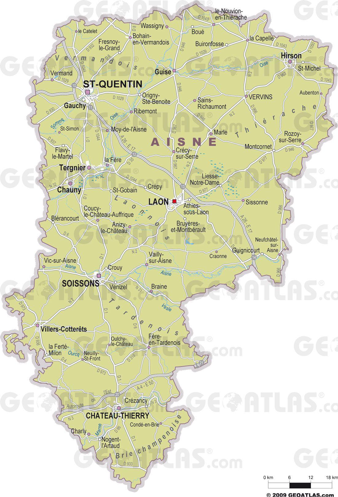 Carte des villes de l'Aisne