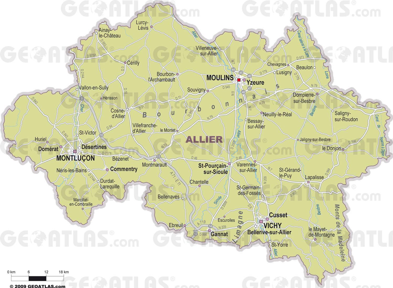 Carte des villes de l'Allier