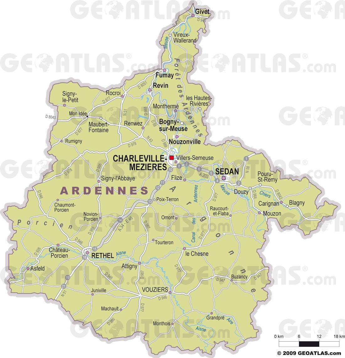 Carte des Ardennes - Ardennes carte du département 08 - tourisme, villes..