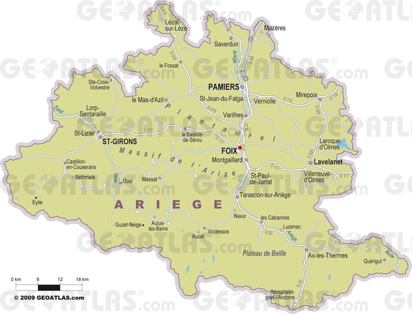 Carte des villes de l'Ariège