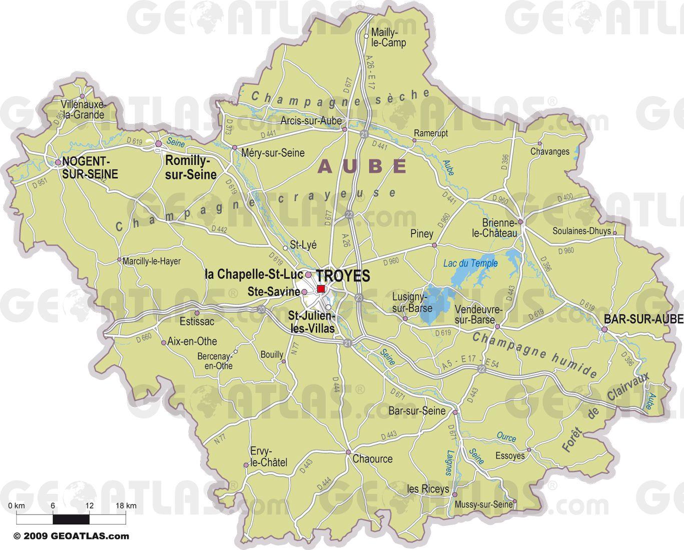 Carte des villes de l'Aube