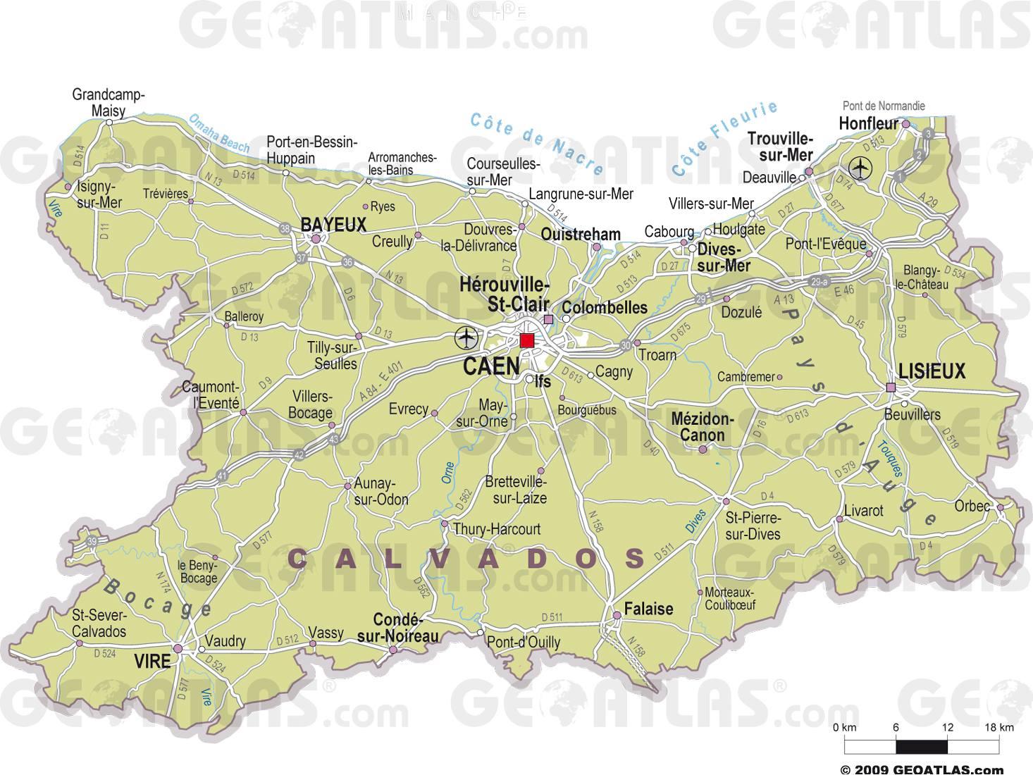 Carte des villes du Calvados