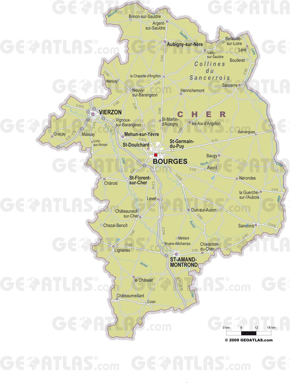 Carte des villes du Cher
