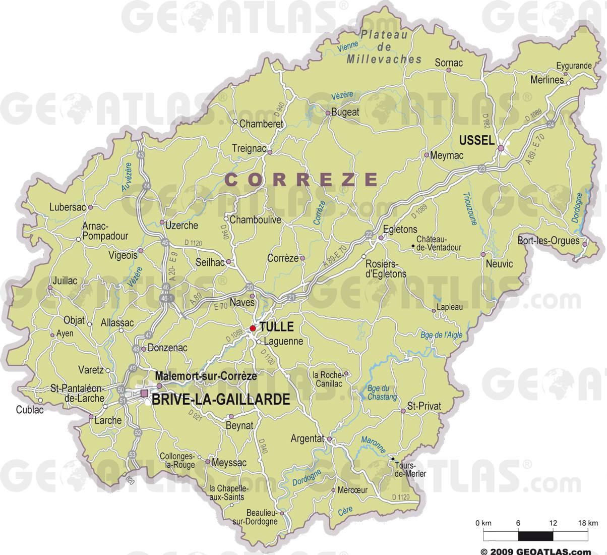 Carte des villes de la Corrèze