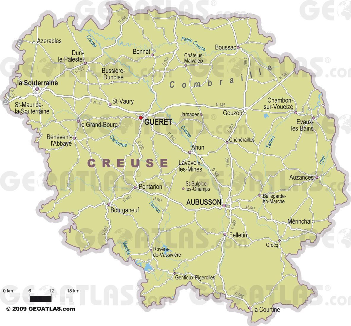 Carte des villes de la Creuse
