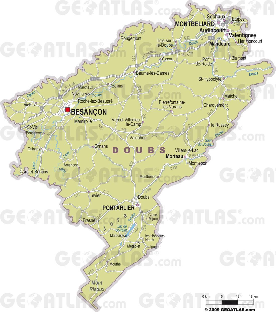 Carte du doubs doubs carte du d partement 25 villes for Montbeliard besancon
