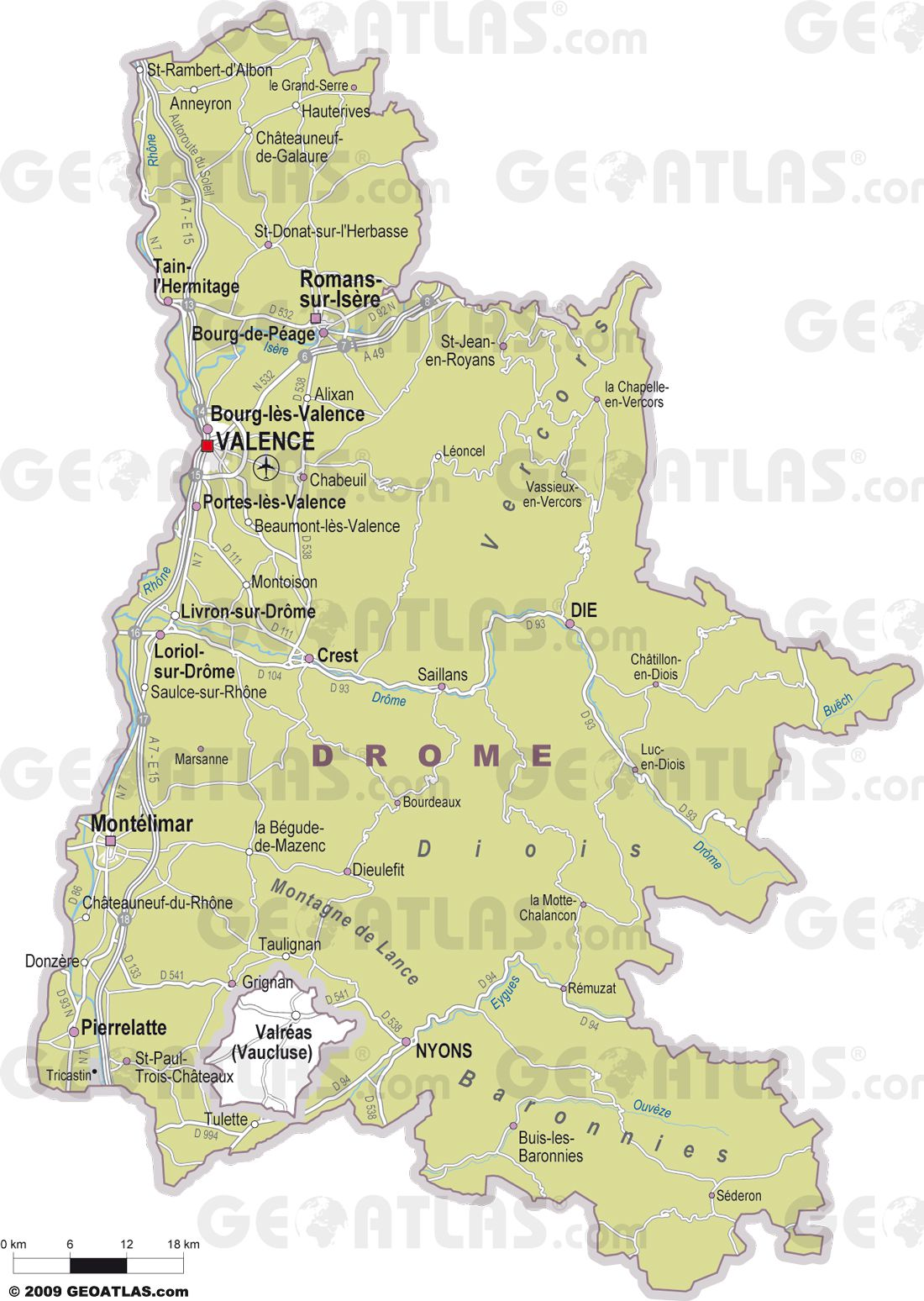 Carte des villes de la Drôme