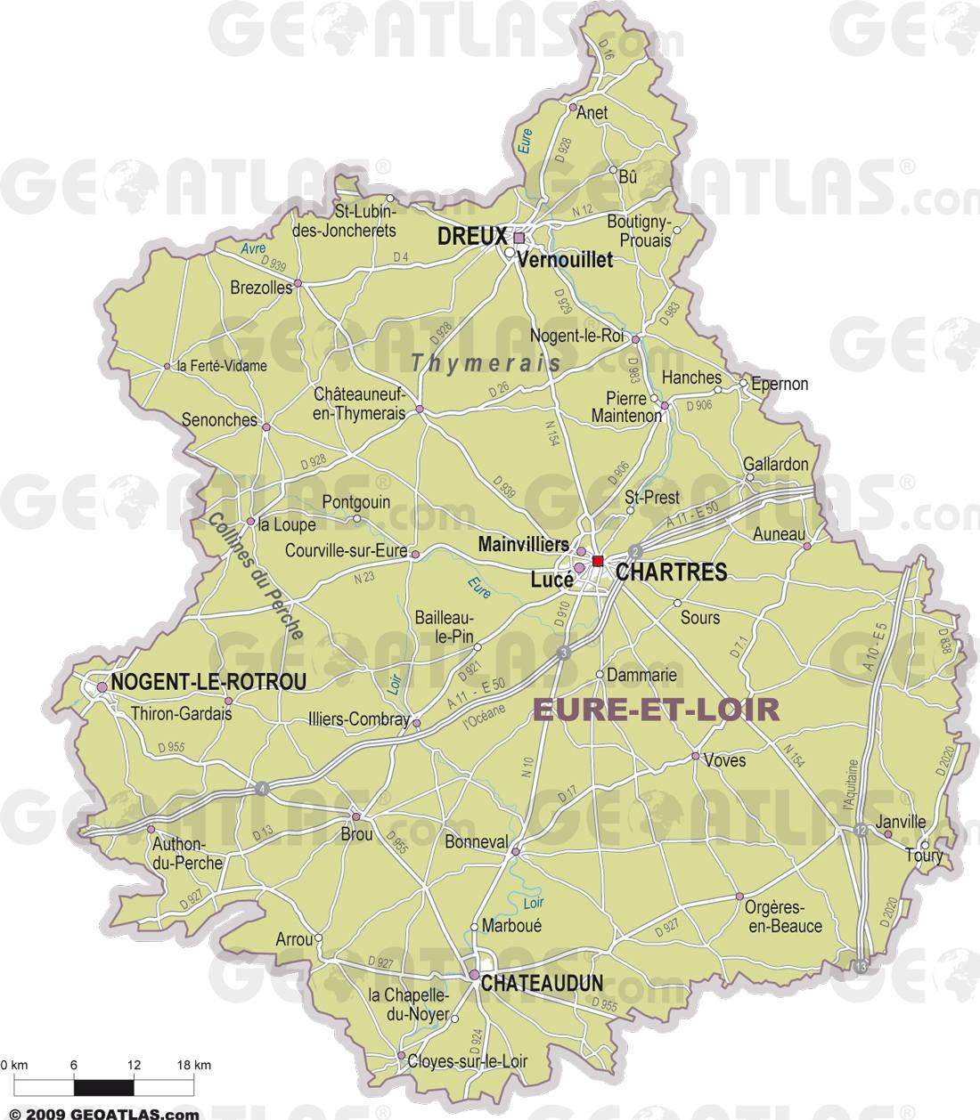 Carte des villes de l'Eure-et-Loir