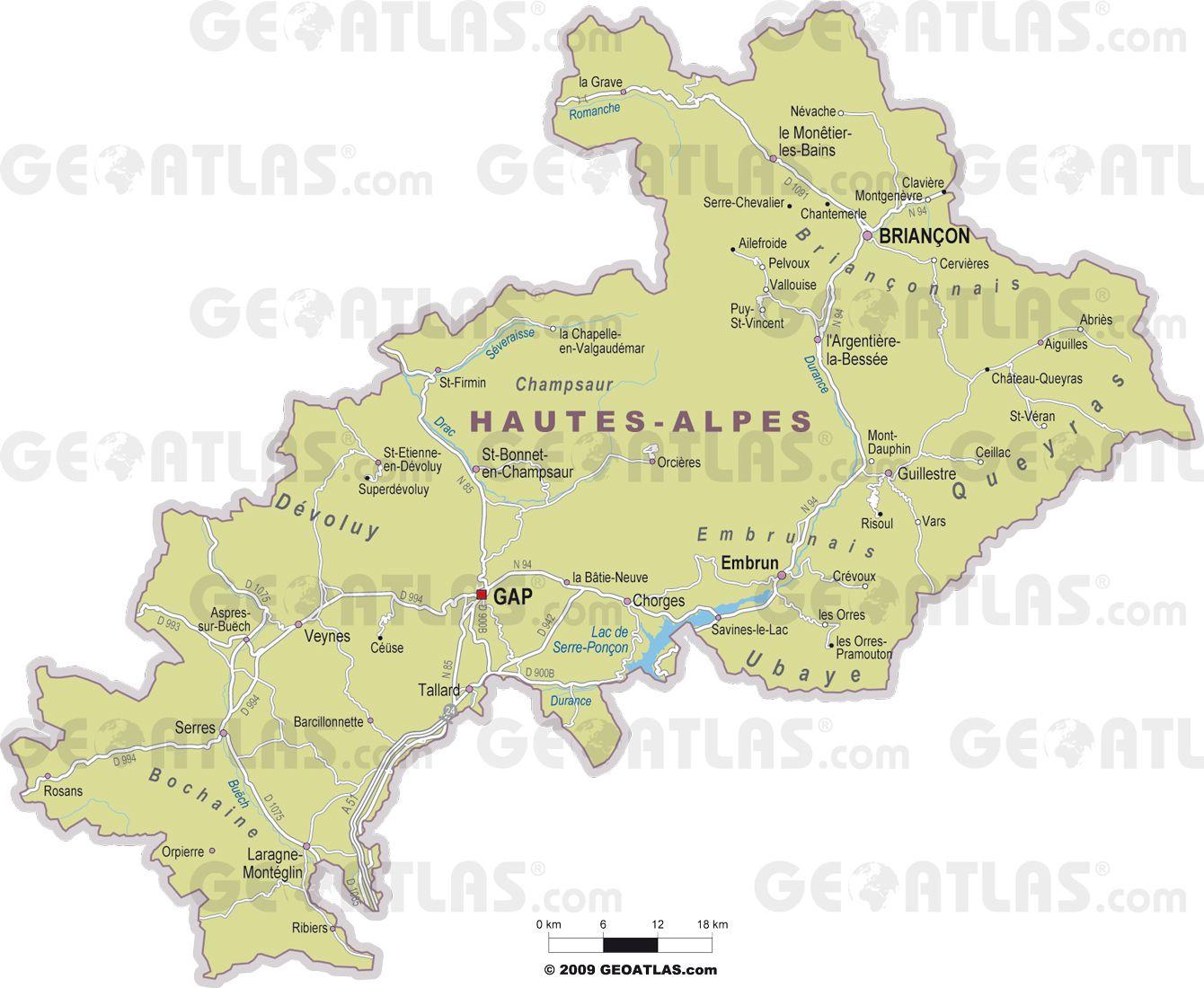 Carte des villes des Hautes-Alpes
