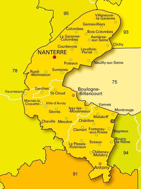 Carte des villes des Hauts-de-Seine