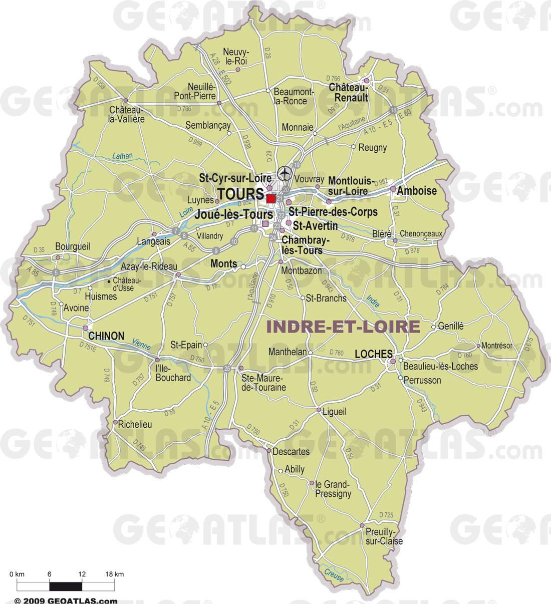 Carte des villes de l'Indre-et-Loire